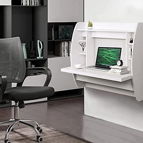 Escritorio flotante de espacios pequeños con estantes de almacenamiento para dormitorio, escritorios de montaje en pared multifuncional para estudio en casa y oficina, escritorio de la computadora bla