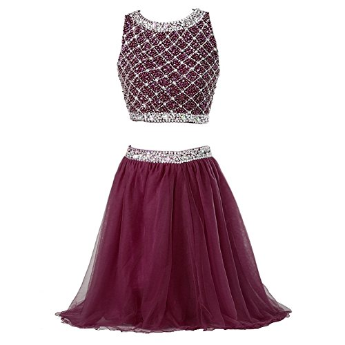 Callmelady Two Piece Homecoming Dresses for Juniors Short Prom Dresses for Women (Burgundy, US17W)