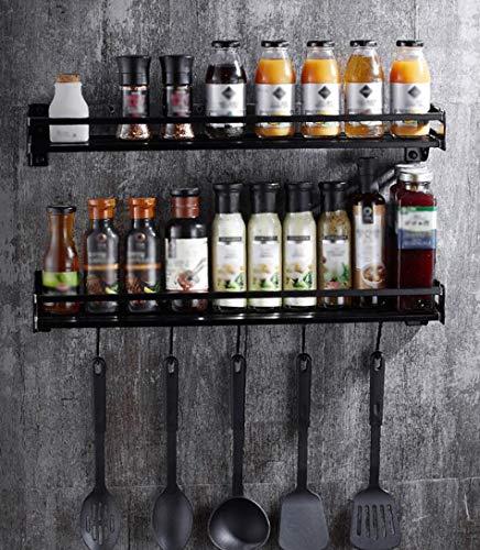 ZXL rek voor het opbergen van keukenwand, modieus, eenvoudig, ruimtebesparend, kruidenrek, lepelplank van aluminium, zwart