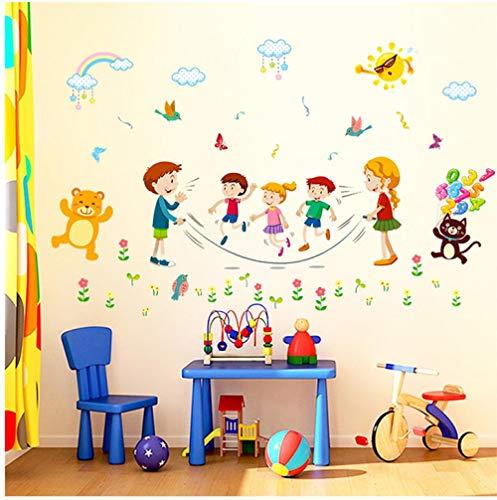 Behang Muren Gelukkig Jumping Touw Kinderkleuterschool Achtergrond Decoratieve Muurstickers
