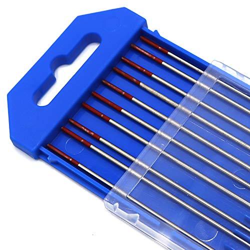 Electrodos de soldadura TIG 10X de WT20 Ø2.4mm * 175mm Electrodos de tungsteno Tungstenos Soldadura TIG Adecuado para aleación de níquel, titanio, cobre, acero inoxidable, etc.