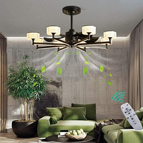 miwaimao Ventilador de techo de cristal de 100 cm con LED, regulable, moderno, de roble, para salón, dormitorio