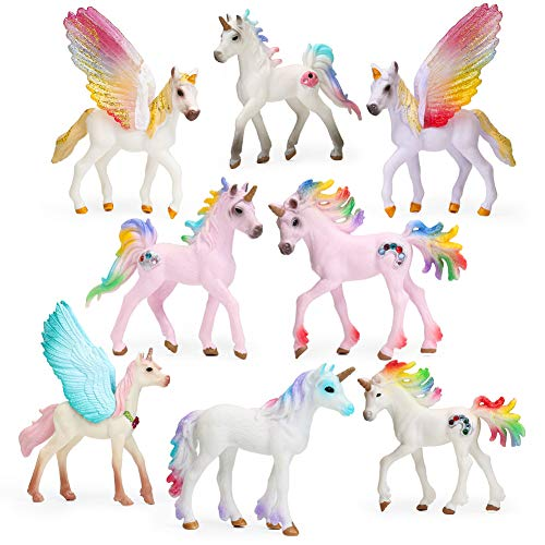 8pcs Unicorn Toy Figurine Set Unicorn Cake Toppers for Party, Birthday, Imaginative Toy Gift for Kids
