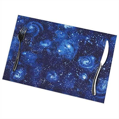 NA Set von 6 , Stargazers Space Dust Royal Tischsets rutschfeste, hitzebeständige, waschbare Tischsets für den Esstisch