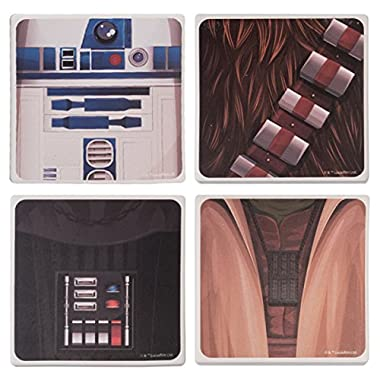 Vandor 99385 Star Wars 4 Piece Ceramic Coaster Set, Multicolored