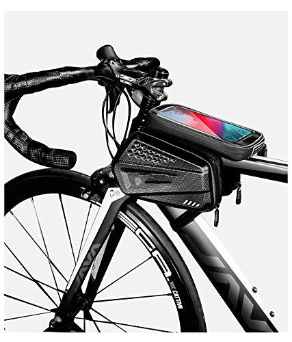 LJWLZFVT Bike Frame Bag Waterproof Bike Phone Bag Large Capacity Handlebar Bag Bike Accessories with Touch Screen with Sun Visor and Rain Cover Bicycle frame bag-E6 black commuter 21x14x13cm