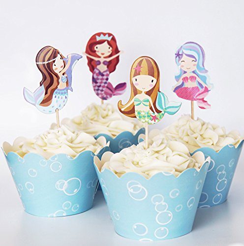 24 Mermaid Cupcake Toppers Picks & Wrappers - Red Fox Tail