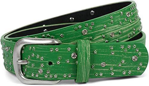 styleBREAKER Damen Gürtel mit Sternchen Nieten und Strass, Oberfläche in Pinselstrich Optik, Vintage Nietengürtel, kürzbar 03010096, Farbe:Grün, Größe:85cm