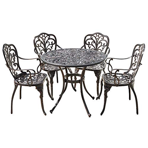 Trueshopping Cast Aluminium Round Dining Table Set with 4 Armchairs Weatherproof Metal Outdoor Patio Garden Furniture Set