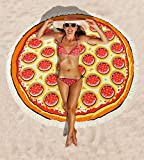 Pizza Round Beach Towel Microfiber Oversized Blanket 59 Inches Water Absorbent Picnic Mat for Adults Kids