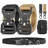 Cinturón táctico para hombre, paquete de 2 cinturones militares para hombres tácticos con liberación rápida - negro - talla única