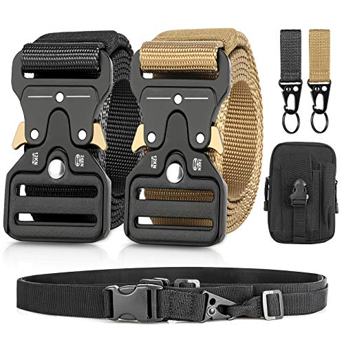Men's Tactical Belt,2 Pack Military Belts for Men Tactical with Quick Release,Metal Buckle Tactical Heavy Duty Belt Task Rope (Black-Khaki)