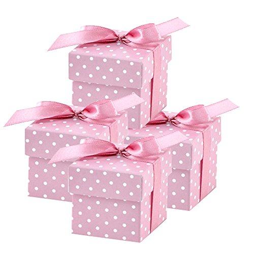 partydeco.pl 50 scatole Regalo (Rosa), per Matrimonio, Battesimo, Nascita
