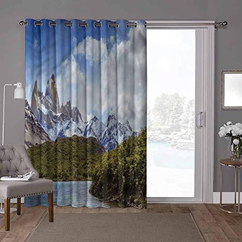 YUAZHOQI - Cortina para puerta corredera, paisaje, Alpes argentinos del Sur, 100 x 200 cm (1 panel)