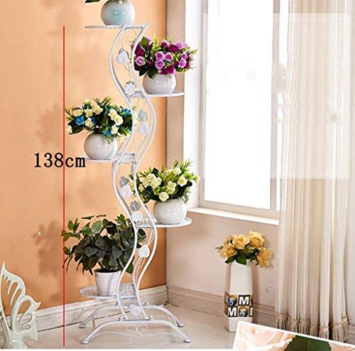 Porte Plante De style européen simple balcon Fer étage-style Flower Rack / multi-couches intérieur et extérieur métal plante affichage vertical Rack fleur Étagères à fleurs ( Couleur : Blanc )