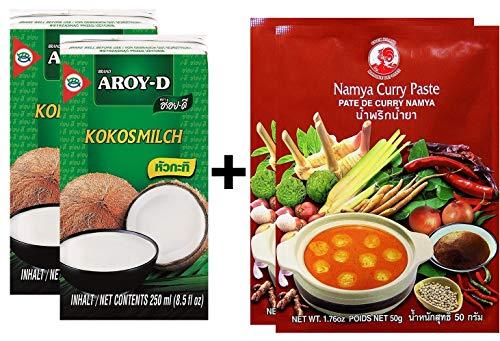 Paquete de 2 Leche de Coco AROY-D [2x 250ml] Cocosmilc - Leche de Coco + Pasta de Curry de Pollo 50g Namya (2x50g)