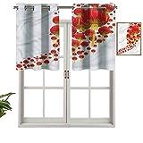 Hiiiman Cenefas de cortina opacas aisladas térmicamente con ojales cortos, faroles chinos en cielo, juego de 1, 137 x 45 cm para cocina y baño