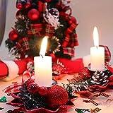 Bibivisa 3X Weihnachten Kerzenhalter, Bereift Tannenzapfen Kerzenständer Dekorativ Rote Beeren Glitzer Ball, Christmas Kerzenlicht Weihnachtskerze Stehen für Weihnachten Tischdeko Advent Deko - 4