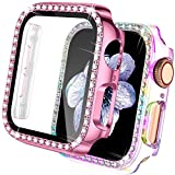 【2 Pack】 Easuny Screen Protector for Apple Watch Case 42mm Series 3 2 1 - Bling Diamond Cover Overall Protective Accessories for iWatch Women, Rose-Pink/Colorful