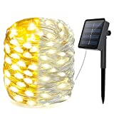Solar String Lights Outdoor PVC Coating, 33FT 100 LED Solar Lights Ourdoor String with 8 Modes, Solar Fairy Lights Waterproof Silver Wire Twinkle Lights for Patio Yard Garden Tree Party,(Warm White)