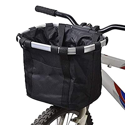 LQKYWNA Folding Bike Basket, Aluminum Alloy Oxford Cloth Detchable Front Rear Hanging Bicycle Basket Mountain Bike Accessories with Hook