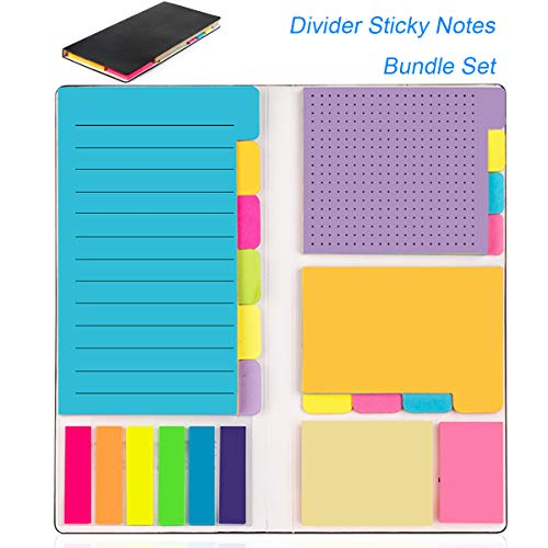 Sticky Notes Colored Divider Self-Stick Notes Set by LE PA (402pcs), Prioritize with Color Coding - 60 Ruled Lined (3.8x5.9), 48 Dotted (3x3.8), 48 Blank(2.6x3.8), 48 Orange&Pink,150 Index Tabs,Black