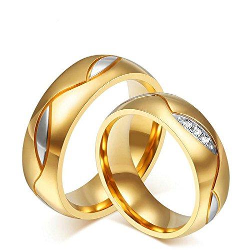Aooaz Schmuck Herren Ring Hochzeit Ringe Runde Form Blatt Breite 6mm Edelstahl Ehering Gold Verlobungsringe für Herren Größe 70(22.3)
