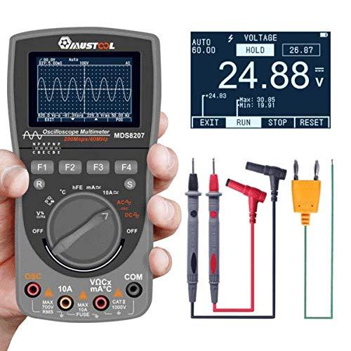 Multímetro MUSTOOL MDS8207 con almacenamiento inteligente 2 en 1 digital 40 MHz 200 Msps/S, osciloscopio automático, OSC 6000 recuentos, RMS DMM CA/CC, comprobador de tensión