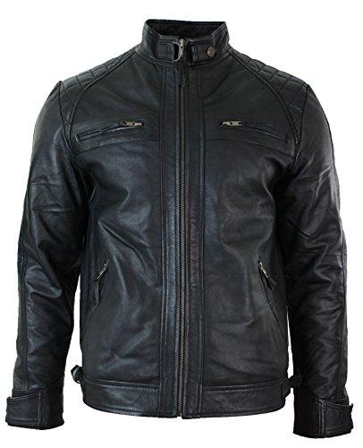 Veste de motard en cuir souple véritable pour homme style rétro avec fermeture Éclair Noir - Noir - Medium