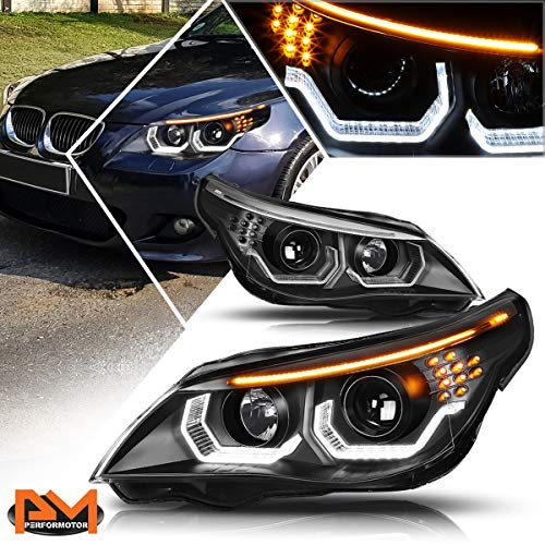 [Pair] U-Halo LED Projector Headlights Headlamps Assembly Black w/Bulbs Compatible with 04-07 BMW E60 5 Series,