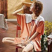 ナイトウエア パジャマ 半袖 女性 女の子 上下セット ショーパン 夏用 春夏 プレゼント 部屋着 寝間着 綿100% 通気性 肌に優しい ゆったり 軽い カジュアル 可愛い Vネック フリル ドレープ グレー