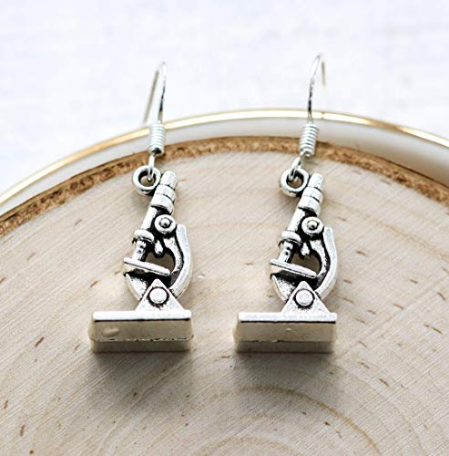 Microscope Earrings for Women - 925 Sterling Silver Hooks - Scientist Gifts - Science Jewelry