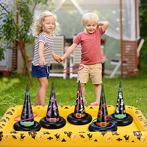 CLISPEED Halloween Ring Toss Game With Base, 5pcs Inflatable Witch Hats with 10pcs Plastic Rings for Halloween School Carnival Party Favors Supplies Indoor Outdoor Fun