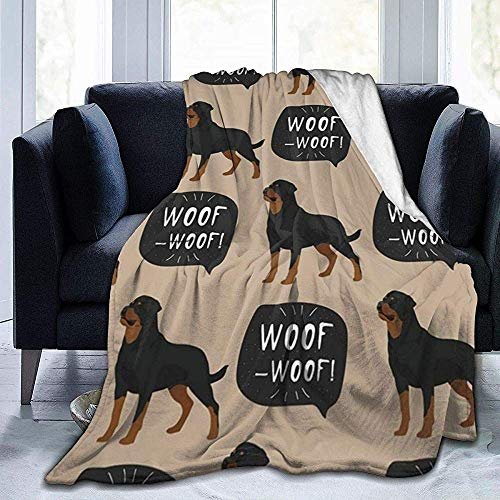 Nat Abra Hund Rottweiler Tier-Tier-Gesicht Decke | Superweiche Decke aus Mikrofaser | Fernsehdecke für Couchsofa
