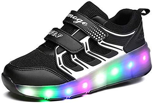 Luckly Grace Unisex Kinder verbesserte led-streifen-rad-roller skate schuhe high top retractable technische skateboard-sport-turnschuh 3.5 uk schwarz 3