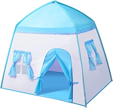 """iCorer Extra Large Kids Play Tent Princess Castle Teepee Children Playhouse Portable Fort Space World for Boys and Girls Indoor Outdoor Fun with Carry Bag, 55"""" x 41"""" x 49"""""""