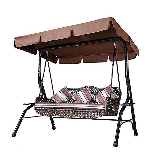 Asiento de columpio para patio para 3 personas con soporte, silla de columpio para exteriores con dosel ajustable, resistente a los rayos UV, Banco giratorio para jardín, junto a la piscina, balcón