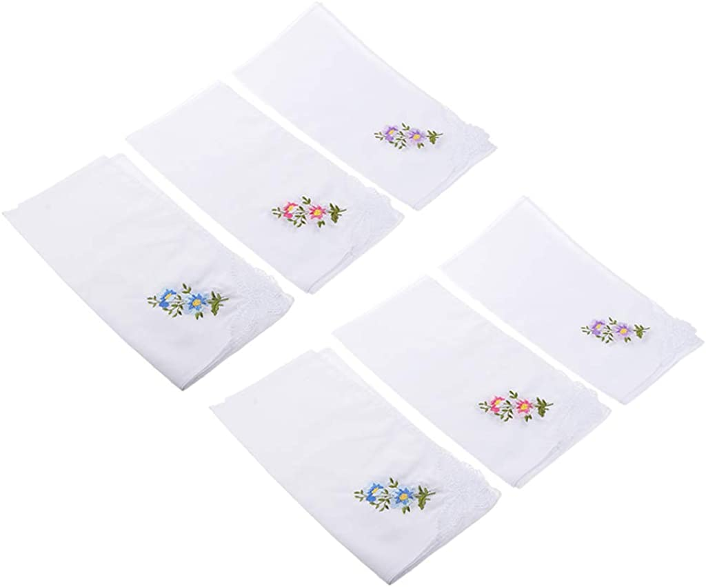 Harilla 24x Hanky White Flower Embroidery Cotton Lace Handkerchiefs