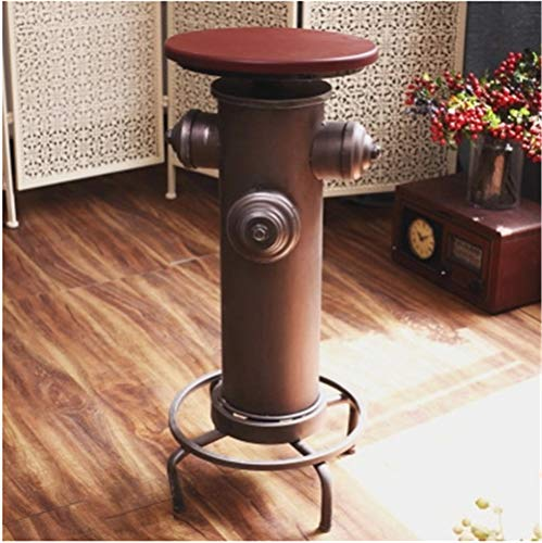 Vintage Industrial Bar Stools Cast Iron Tractor Stool Swivel Seat Breakfast Chair Kitchen Dining Chair Round Top