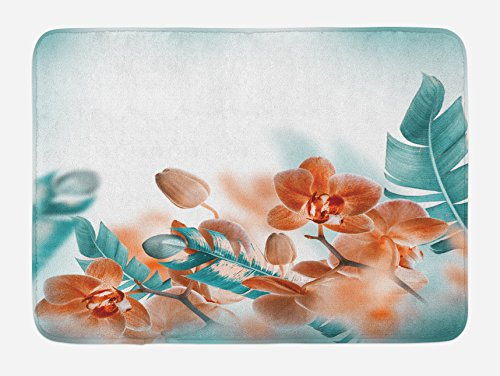 Ambesonne Tropical Bath Mat, Tropical Orchids Blossom Leaves on Blurred Background Floral Themed Modern Art, Plush Bathroom Decor Mat with Non Slip Backing, 29.5 X 17.5, Orange Teal