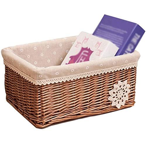 SHUSHI Home-ever Natural Wicker Rectangle Deep Storage Basket (Medium - L 20 X W 31 X H 14cm) (Size : 17 * 22 * 12cm)