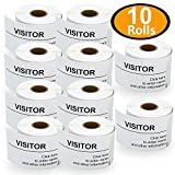 BETCKEY - Compatible DYMO 30857 (2-1/4' x 4') Visitor Name Tag Badge Labels - Compatible with Rollo, DYMO Labelwriter 450, 4XL & Zebra Desktop Printers[10 Rolls/2500 Labels]