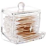Luxspire Acryl Wattestäbchen Aufbewahrung, Wattestäbchen Spender Cotton Wattepads Behälter Box Make-up Kosmetik Halter Organizer mit Deckel, Transparent