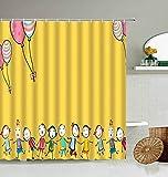 Yidsx DuschvorhangNiedliche Eule Duschvorhang Bunte Cartoon Spaß Vogel Tier Süßigkeiten Kind Badezimmerzubehör Mit Haken Wasserdichter Display Waschbar