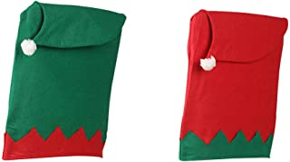 Christmas Boy and Girl Elves Theme Hat Chair Back Cover, Set of 2 Santa Claus Red&Green Stool Cover Set Family Composition Supplies for Decorating Xmas Holiday Party Kitchen Dining Room Home