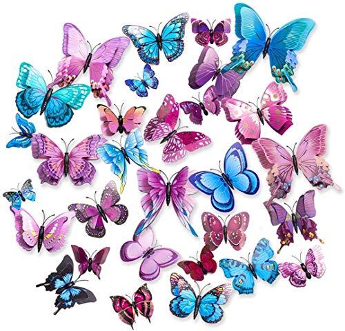 Pegatinas de pared de Mariposa,CCUCKY 36 Piezas Capas dobles Alas 3D Decoración de Mariposas, Ideal para sala de Niños,Cocina Nevera Plantas de jardín Decoraciones de fiesta-Rosa,Azul,Púrpura