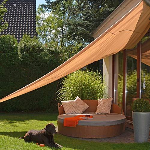 HI Vela Parasole Triangolare Efficace Protettiva Leggera Efficiente Telo Solare Ombreggiante Ombrellone Paravento Facile Installazione 5x5x5 m Beige