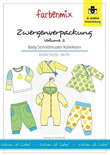 Zwergenverpackung Vol. II Farbenmix Schnittmuster (Papierschnittmuster für die Größen 50/56 - 86/92) Babykollektion