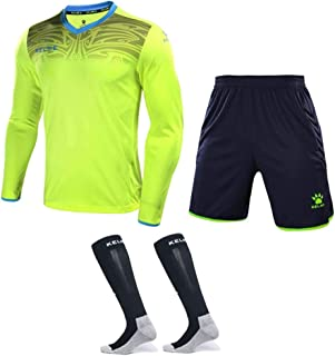 Goalkeeper Jersey Uniform Bundle - Set Includes Shirt, Shorts and Socks - Protection Pads on Shirt and Shorts - Kids and Adult Sizes