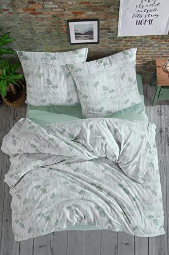 Bettwäsche 200x220 aus 100% Türkische Baumwolle 3 teilig Set - 1 Bettbezüge 200x220 und 2 Kissenbezug 80x80 cm, weich und kuschelig, Allergikergeeignet, Premium Qualität
